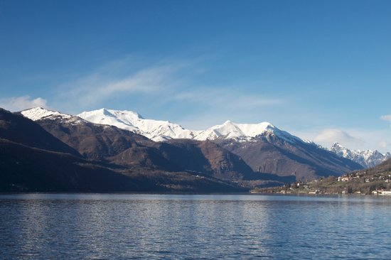 Lake Orta : The snow covered Alps in the Distance