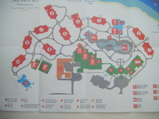 Memories Flamenco Beach Resort Map Map of resort   Picture of Memories Flamenco Beach Resort, Cayo  Memories Flamenco Beach Resort Map