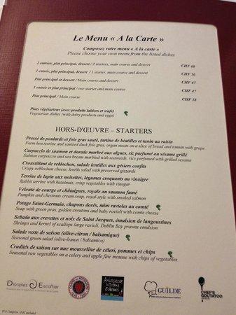 Restaurant Vieux Bois: menu
