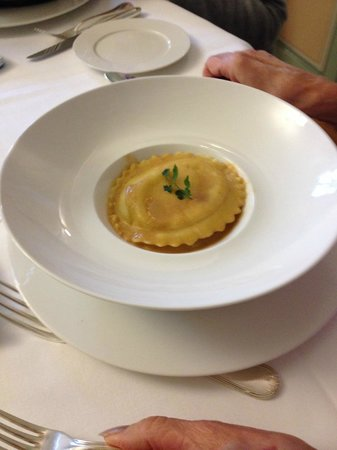 Restaurant Vieux Bois: ravioli aux crevettes et langoustines