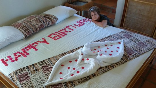 Ambergris Divers Resort: Staff surprised me with flower petals spelling Happy Birthday