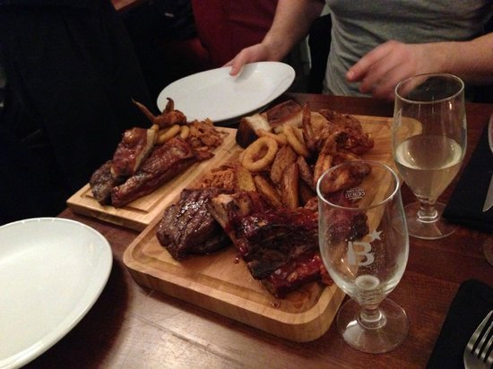 Hoggit & Hoof: MEAT! This is one of the meat combo mains - steak, ribs, pork belly, pulled pork, onion rings, c