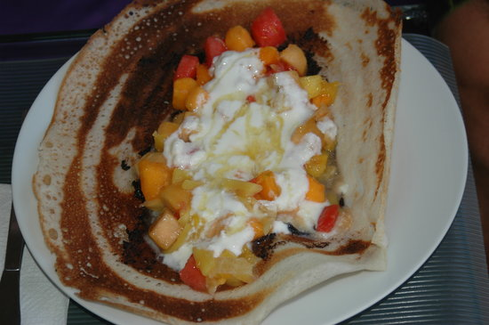 SodaGaia: Dosa (gluten free indian crepe) filled with homemade nutella, local fruits, yogurt and honey