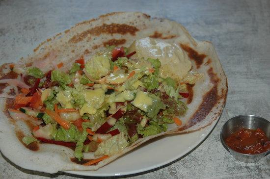 SodaGaia: Dosa (gluten free indian crepe) filled with hummus, salad, mango dressing and starfruit chutney