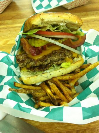 J and P Bar & Grill : Our Double Meat Cheese Burger with Hand-Cut FF