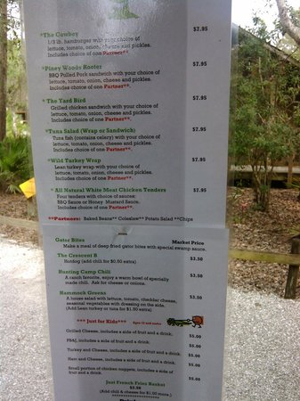 Babcock Ranch Eco Tours: Menu