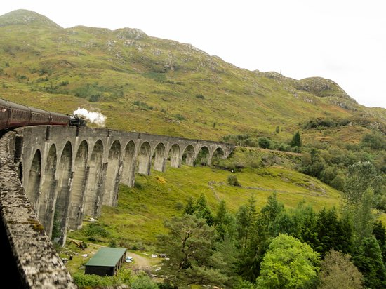 Jacobite Steam Train: Going back towards Ft. William over the Glenfinnan Viaduct