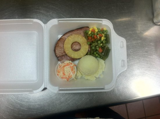 Claudine's Eatery : Most Meals are Available For Takeout including most Seniors Meals like this Baked Ham Meal