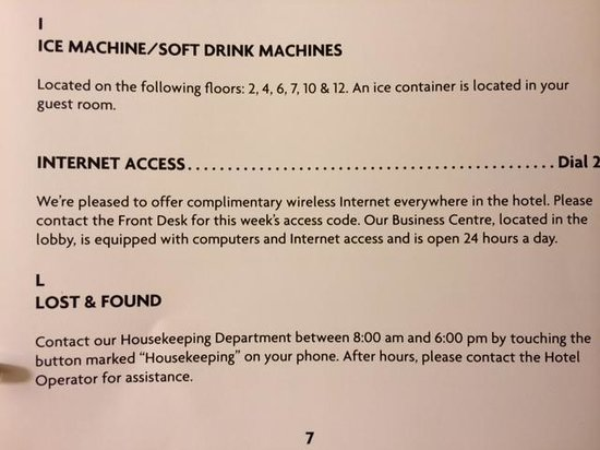 Crowne Plaza Toronto Airport: Ice and Internet Access information page from guide