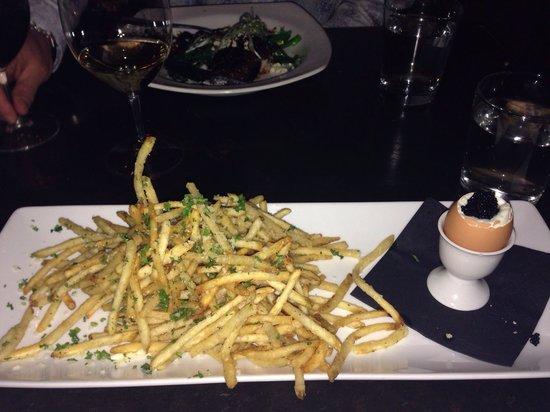 Davinci's: Duck fat fries, egg and caviar!
