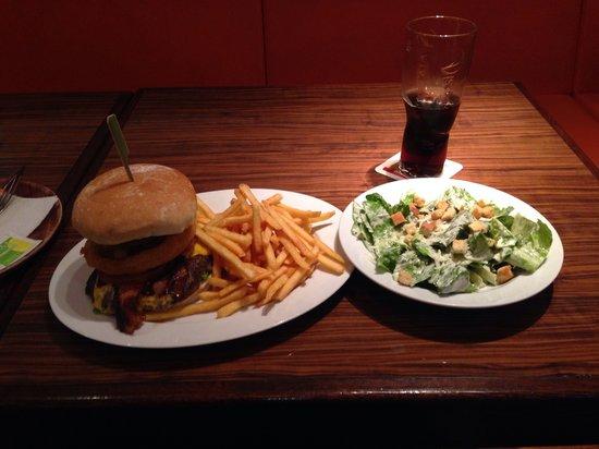 Chillers - American Sportsbar & Restaurant: Texas BBQ burger with side salad