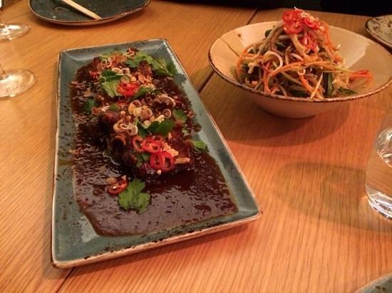 Yume: Pork ribs with thai chili-sauce and som tum salad.