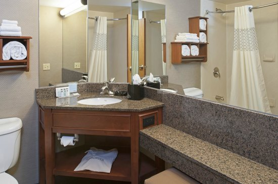Hampton Inn Muskegon: Guest bathroom featuring granite countertops