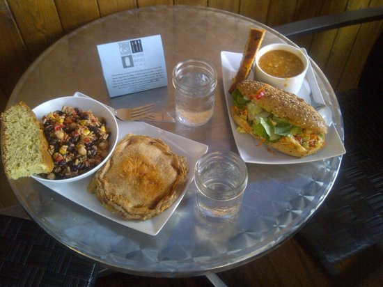 Mountain Meals: Chicken pot pie with a wild rice salad, pumpkin salad sandwich and a soup w/cornbread on the sid