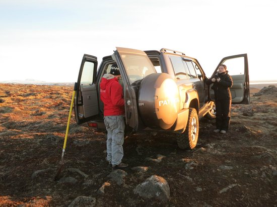 Eskimos Iceland: getting our gear from the car for our cave hike
