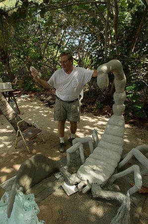 Davinoff's Concrete Sculpture Garden: David Davinoff working on the latest sculpture.