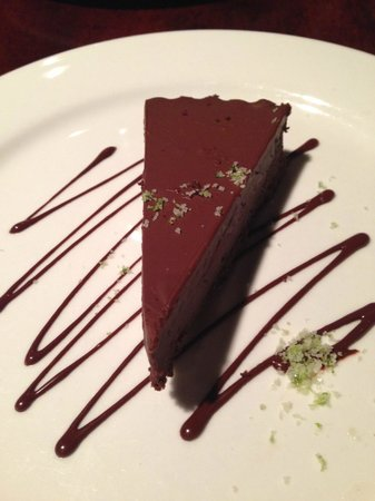 New World Bistro Bar: Choco-Coconut Ganache Tart with chile-lime salt