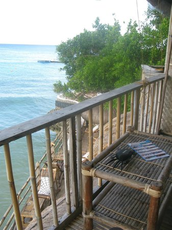 Spider House Resort: view from room 1 down to bar/cafe
