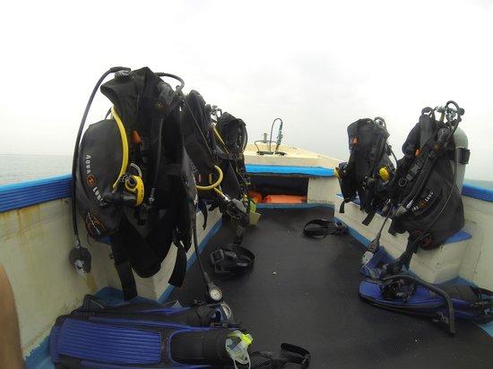 World Diving Lembongan : A chartered boat setup.