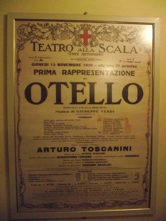 Scala de Milan (Teatro alla Scala) : Cartaz antigo de apresentação da ópera Otello em 1928