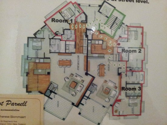 Ascot Parnell Boutique Bed and Breakfast: The B&B floor plan with room locations
