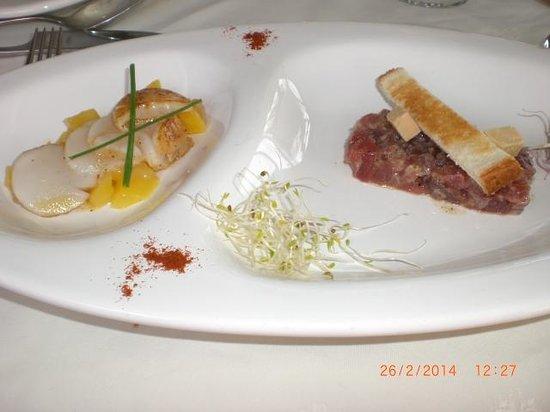 Chez Philippe : carpaccio de saint jacques et tartare de thon