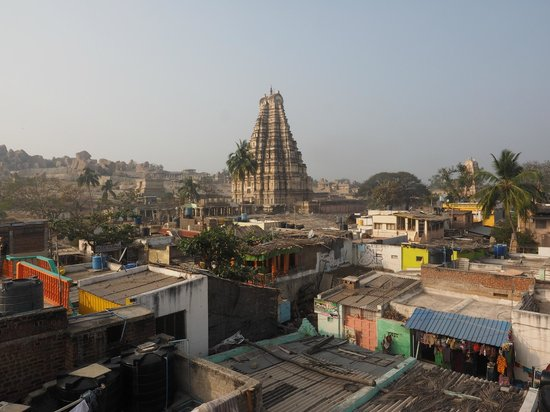 Sunrise over Hampi Bazaar, seen from the roof-deck of Thilak Home Stay