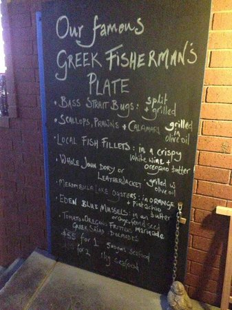 Miriam's Restaurant: Description of what's included for the Greek Fishermans Plate