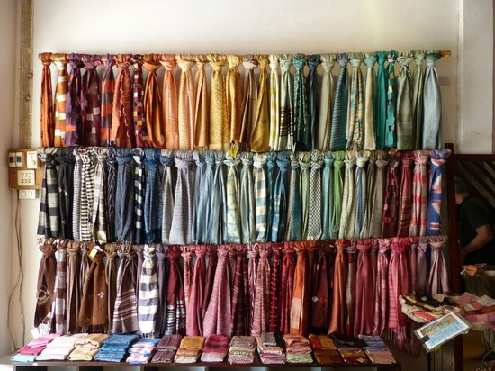Ock Pop Tok Store: A rack of scarves