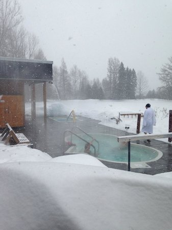 Nordique Spa Mont Ste-Anne : Hot tub and cold plunge outside. This picture was taken from inside.