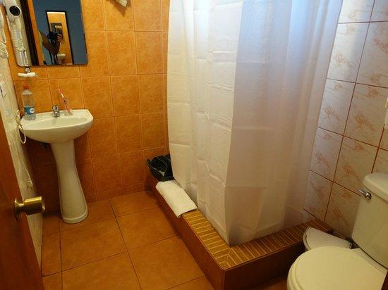 Hotel Rapa Nui : Salle d'eau minable, rien pour poser les affaires de toilette , lavabo de 40 cm !