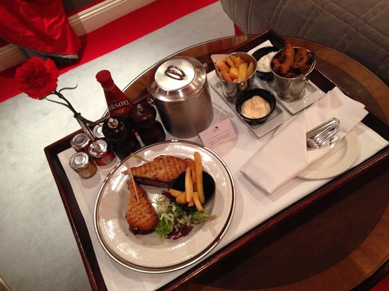 The Rubens at the Palace: great steak sandwich - nice and rare - YUM