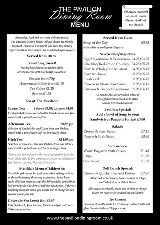 The Pavilion Dining Room: lunch menu