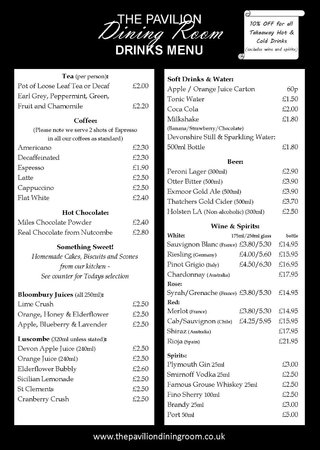 The Pavilion Dining Room: drinks menu