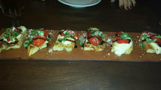 BRIO Tuscan Grille: Roasted Red Pepper Bruchetta on Serving Board