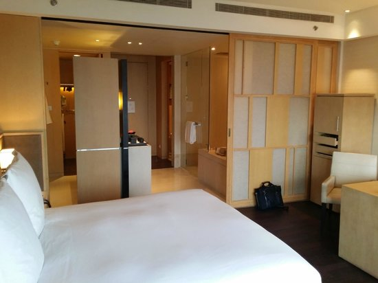 "Park Hyatt Beijing: View of the bed and adjoining ""bathroom"""