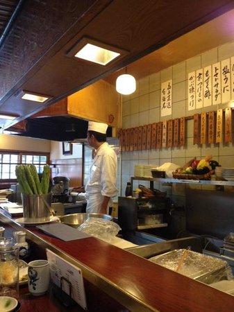 Shinjuku Tsunahachi Sohonten: View from where we were seating at the counter