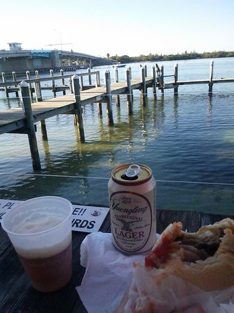 New Pass Grill and Bait Shop: View from the deck of New Pass Bait and Grill