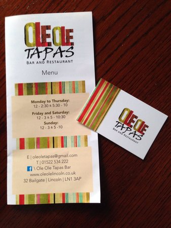 Menu picture of ole ole tapas bar restaurant lincoln tripadvisor ole ole tapas bar restaurant menu reheart