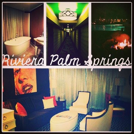 The Riviera Palm Springs, A Tribute Portfolio Resort: Resort details: sunken tub, hallway, fire pits by pool, sitting area in our suite