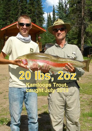 Meadow Lake Fishing Camp: biggest one caught EVER July 2013. No, its not a salmon, its a trout