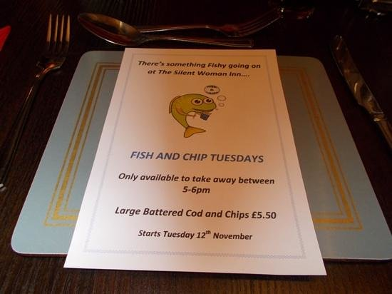The silent Woman Inn: Fish and Chips Tuesday