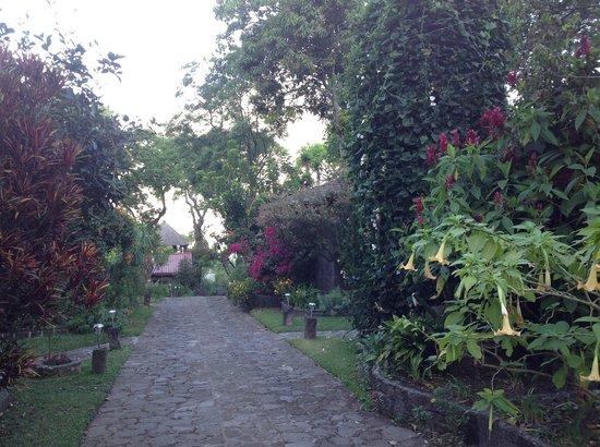Posada de Santiago: Looking up cobblestone driveway at some cottages/rooms
