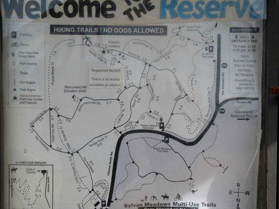 Santa Rosa Plateau Ecological Reserve: map of trails