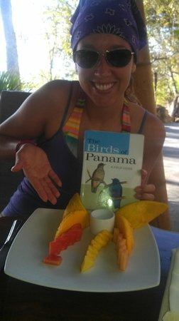 The Resort at Isla Palenque: A very happy birder with the beginning of a yummy breakfast!