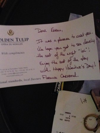 Golden Tulip Opera De Noailles: I took a picture of this lovely personalized note from Frances and wanted to share it.