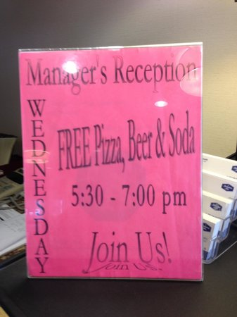 Hampton Inn Quakertown: Invite to pizza party.