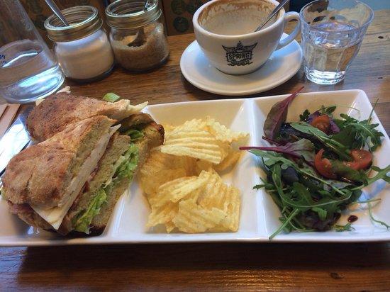 Spring Espresso - Fossgate: The chicken club sandwich! Really really good!