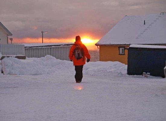 Honningsvag Church: sunset outside church