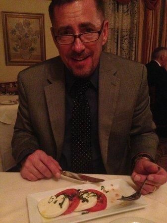 Briarhurst Manor Estate: My husband enjoying his Caprese Salad